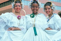 Trio of Caribbean dancers in traditional costumes, Liberty Weekend Festival, NY City
