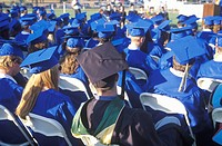 High school graduates at their commencement ceremony, Nordhoff High School, Ojai, CA
