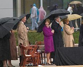 Former President George HW Bush, President George W. Bush, Laura Bush and others on stage during the grand opening ceremony of the William J. Clinton ...