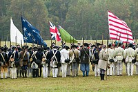 Continentals arrive at the 225th Anniversary of the Victory at Yorktown, a reenactment of the siege of Yorktown, where General George Washington comma...