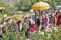 Procession from HH Penor Rinpoche´s overnight residence to Shrine Room honoring his presence at Meditation Mount in Ojai, CA