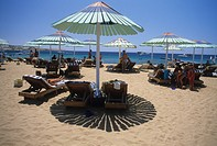 Sharm el Sheikh, parasols on the beach Naama Bay