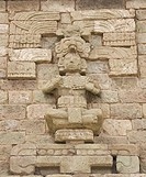 Carved figure at Copan Ruins, Maya Site of Copan