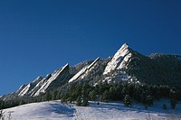 Winter snow on Flatirons mountains