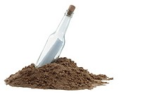 A clear bottle, containing a rolled up note, resting in a pile of sand. Message In A Bottle concept