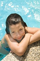 7 years old girl into the pool, summer time, Camping, Montseny Natural Park, Barcelona, Catalonia, Spain