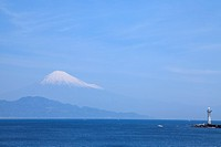 View of Mt. Fuji with lighthouse