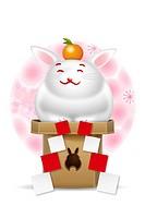Kagami mochi shaped like a rabbit against white background
