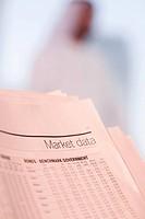 Market data on financial newspaper