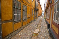 Narrow empty lane in medieval quarter Helsingor north Sjaelland Denmark Europe