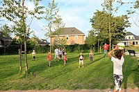 Children playing soccer. Amersfoort, Utrecht province, The Netherlands