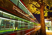 England, Greater London, London Borough of Camden  Red London bus outside the London King's Cross railway station and St Pancras underground station