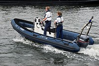 Boat police patrol, Amsterdam, the Netherlands