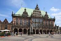 D-Bremen, Weser, Freie Hansestadt Bremen, market place, city hall, Gothic, Weser renaissance, UNESCO World Heritage Site