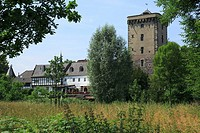 D-Dormagen, Rhine, Lower Rhine, North Rhine-Westphalia, D-Dormagen-Zons, Feste Zons, Middle Ages, Zoll Tower and Rhine Town Gate, residential building...