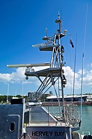 A radio and satellite tower on the Customs vessel the Hervey Bay.