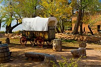 'Prairie Schooner' old covered wagon at Pipe Springs National Monument, near Fredonia, Arizona