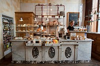 Interior of traditional bakers shop and cafe in central Antwerp in Belgium
