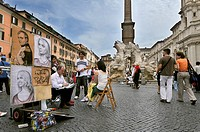 Street performers in Piazza Navona, Rome
