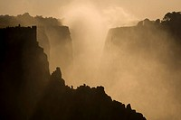 Mist over the cliffs of Victoria Falls.