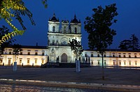 Alcobaça, Monastery of Santa Maria in Alcobaça at Dusk, UNESCO World Heritage Site, Estremadura, Leiria district, Portugal, Europe.