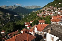 The village of Metsovo looking south toward the village of Anilio and the new Via Egnatia expressway, with the Pindos mountains in the background, Epi...