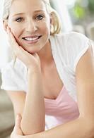 Cheerful blond woman