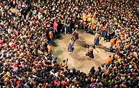 `Nans vells´ old dwarf-enanos viejos dancing Plaça de Sant Pere La Patum Masterpiece of Oral and Intangible Heritage by UNESCO Berga  Barcelona  Catal...