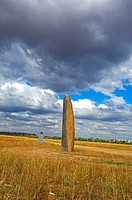 Outeiro Menhir, Megalithic Site near Monsaraz, Outeiro, Evora district, Alentejo, Portugal, Europe.