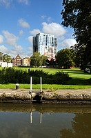 Hemel Hempstead by the Grand Union Canal in Hertfordshire, UK