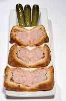 Wedges of common British pork pie