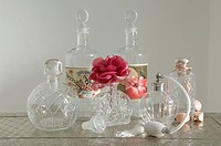 Display of vintage glass storage jars , bottles and vases