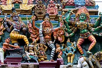 Stucco figures of deities on Meenakshi Amman Temple´s Hindu,Saivite south tower gopuram, Madurai, Tamil Nadu, India