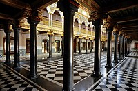 Gleaming black granite pillars ,Nattukottai Chettiar house, 75 years old, Chettinad, Tamil Nadu