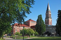 Germany, Kiel, Kiel Fjord, Baltic Sea, Schleswig-Holstein, opera house, art nouveau, city hall, city hall tower, campanile, brick building, Hiroshima ...