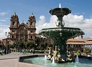 Peru. Cusco city. Plaza de Armas and the Church of La Compañia.