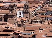 Peru. Cusco city. Overview and Church La Compañia and La Merced.