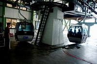 Cable cars inside the arrival station at Mount Hua, one of China´s five Sacred Taoist Mountains, in Shaanxi, China.