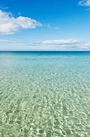 Clear cold water of scenic beach in arctic circle, Gims&#248;ya, Lofoten islands, Norway
