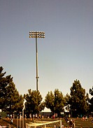 Pylon with floodlights at football stadium