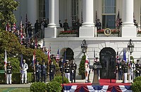 Display of British Union Jack Flag and American Flags in front of the South Portico of the White House, as part of the Official Welcoming of Her Majes...