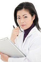 Beautiful Asian woman Doctor/Nurse working at a desk