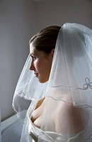 Profile of a bride wearing a veil