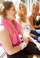 Women talking at gym