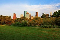 Houston Downtown Skyline from Buffalo Bayou - Eleanor Tinsley Park, Texas
