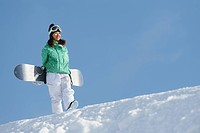 Woman Walking Holding Snowboard on Snowfield