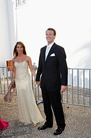 Prince Joachim of Denmark and Princess Marie of Denmark arrive for the wedding of Prince Nikolaos of Greece with Tatiana Blatnik in Spetses island