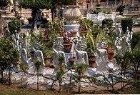 Statues in the Jain Tample Garden, Calcutta, India. Photographed in March. Calcutta has been renamed as Kolkata.