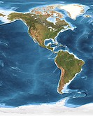 North and South America, satellite image. This map combines cloud_free satellite images on land with detailed ocean depth measurements bathymetry for ...