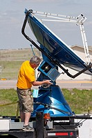 Storm chaser and Project Vortex 2 member Herb Stein repairs the Doppler on Wheels radar dish in Kimball, Nebraska, USA, May 21, 2010  Project Vortex 2...
